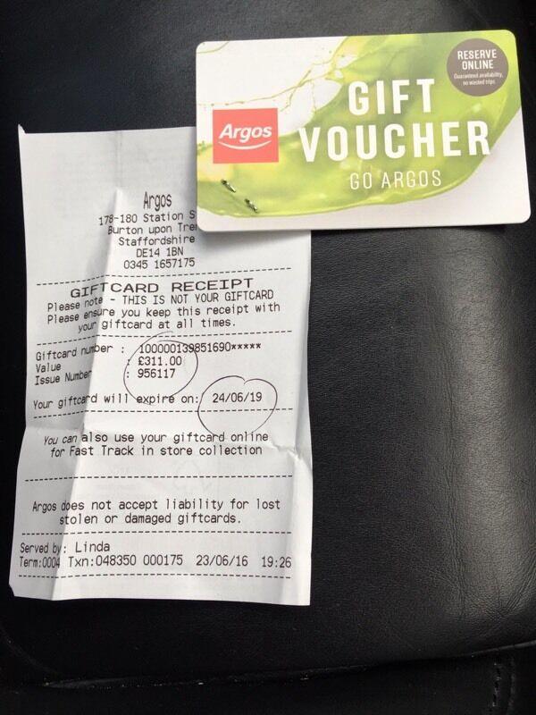 Argos Gift Card Voucher In Derby Derbyshire Gumtree