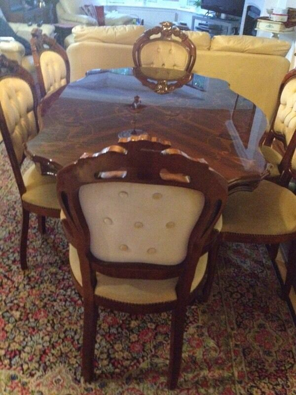 French vintage  Italian Rococo style dining table   6 chairs. French vintage  Italian Rococo style dining table   6 chairs   in