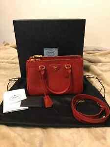 Authentic Prada Saffiano Lux Tote BN2316 in Red