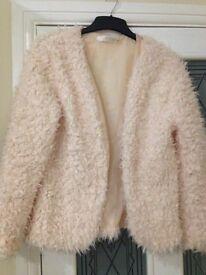 Pale pink fur jacket med