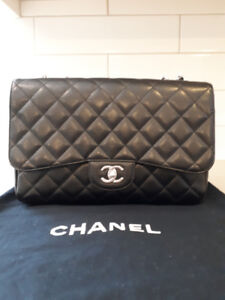 Authentic Chanel Jumbo Single Flap, Caviar, Silver HW