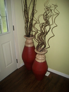 2 Large Vases with Decor Sticks