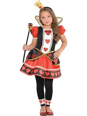 Child Queen Of Hearts Fancy Dress Costume Alice In Wonderland Girls Age - Alice In Wonderland Costume Age 10