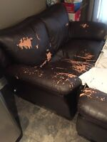 Leather love seat and sofa FREE