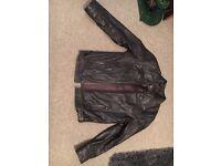 Barneys Dark brown leather biker jacket size medium