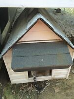 Heated dog house for medium to large breed.