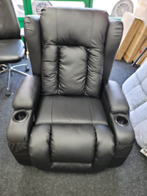 Manual Recliner Chair Faux Leather Armchair Massage Swivel Heated