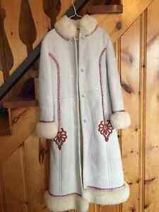 BEAUTIFUL PPZ Furs Shearling Sheepskin White Suede Long Coat