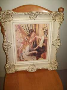 WHITE/ GOLD GESSO  FRAME WITH PICTURE OF FRENCH GIRLS AT A PIANO
