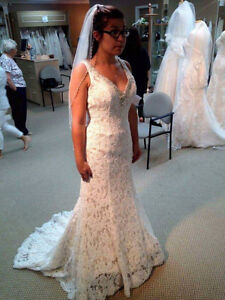 Beautiful full length ivory lace wedding gown