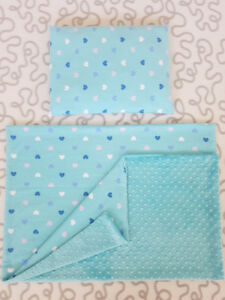 """Blue Hearts"" Blanket/Pillow Set"