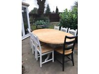 Large 6ft+ Farmhouse solid chunky pine 8 seater dining table and 8 chairs, Stunning French Chic,