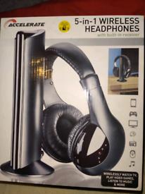 5 in 1 Wireless headphones built in receiver
