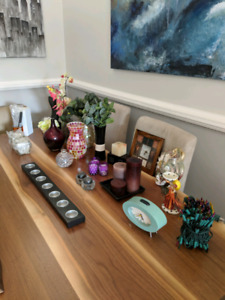 Various decor, vases, candle holders and more!