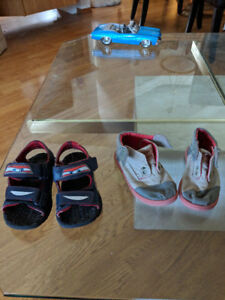Boys Cars sandals and TOMs shoes (sz 7.5/ 8)