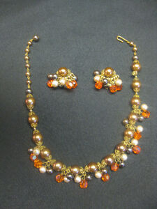 Vintage Necklace with Clip-on Earrings