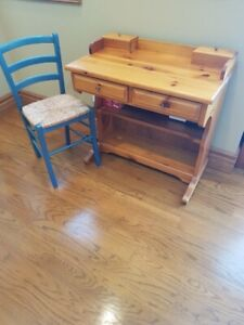 Pine Desk and Chair, Bookcase and Wall Shelf