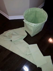 Pottery Barn canvas storage bucket & matching canvas curtains.