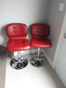 Bar Stools Red Leather Adjustable