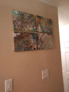 4 piece wall art acrylic painting