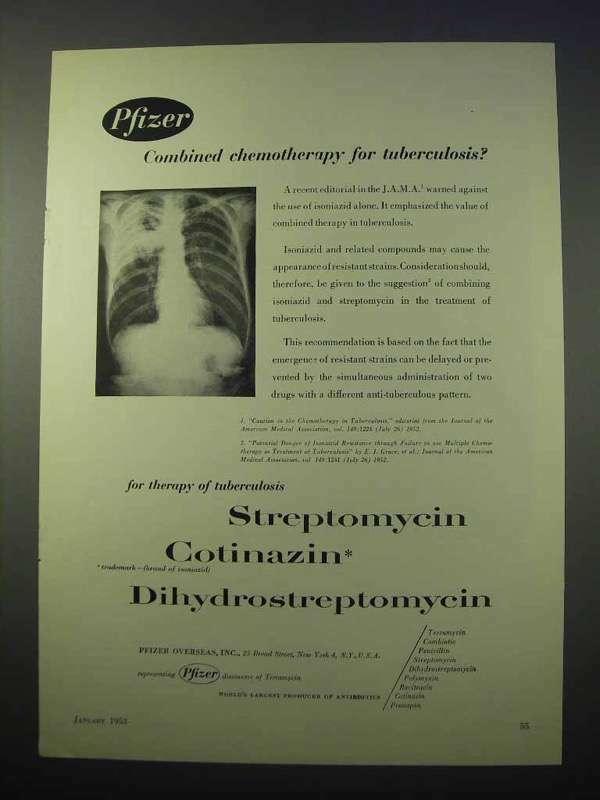 1953 Pfizer Streptomycin, Cotinazin Ad