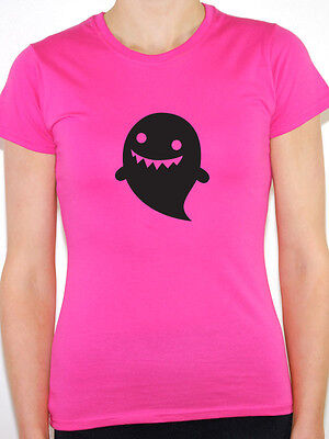 CARTOON GHOST SILHOUETTE - Halloween / Scary / Novelty Themed Women's T-Shirt ()