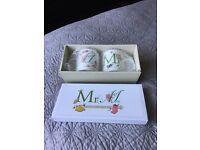 Mrs & Mrs bone china mug set