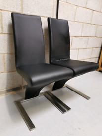 2x Black PU Soft Leather & Chrome Z Modern Dining Chairs