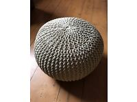 New With Tag ~ Knitted Footstool Pouffe ~ Natural/Beige