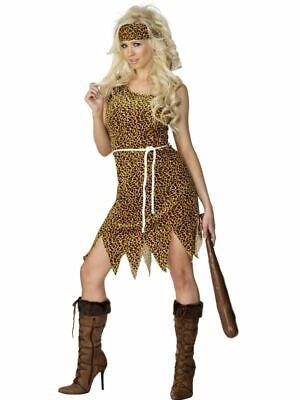 Womens Cavewoman Prehistoric Neanderthal Fancy Dress Costume Leopard - Womens Cavewoman Kostüm