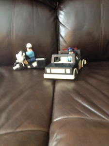 Vintage Fisher Price Police car and Motor bike