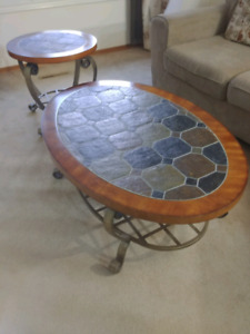 Coffee table and end table with ceramic top.