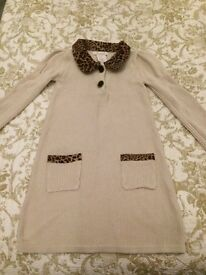 Lilly Wicket cream and leopard collar dress