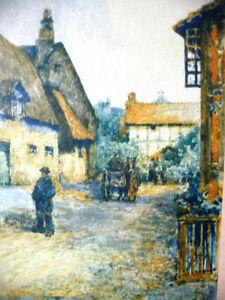 "Street Scene Lithograph by Rhys Jenkins ""Bunyans Cottage Elstow"" Stratford Kitchener Area image 3"