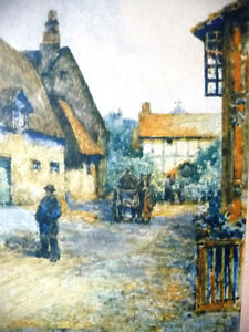 """Street Scene Lithograph by Rhys Jenkins """"Bunyans Cottage Elstow"""" Stratford Kitchener Area image 3"""