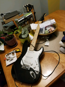 Electric Guitar, Stand, Amp