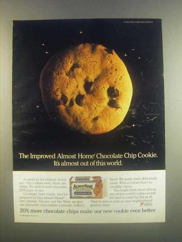 1985 Nabisco Almost Home Chocolate Chip Cookie Ad