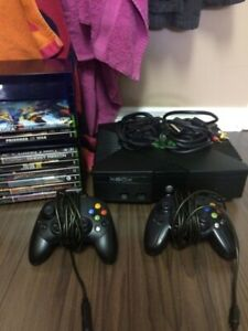 Original x-box with controllers and games