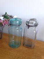 Vintage wire clasp canning jars for rent