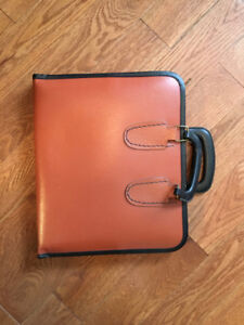 Leather Portfolio Case with Zipper and Handles
