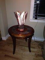 3 beautiful stone inlay and solid wood tables. Must sell