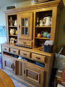 Solid oak French Country two-part rustic cabinet by Barré-Dugué