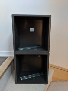 Pair of IKEA EKET Cabinets in dark gray with wall mounts