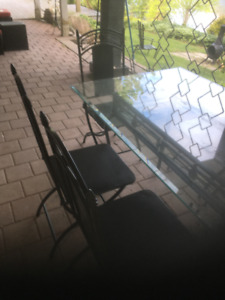Glass Table Top/ Metal Base/ 6 Folding chairs Retails  $2500 +TX