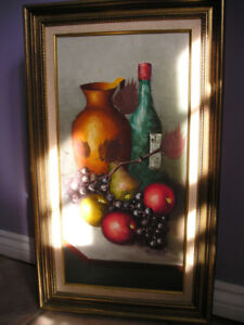OIL ON CANVAS PAINTING Fruits and Wine