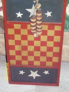art  collectable wooden checker board with wooden checkers