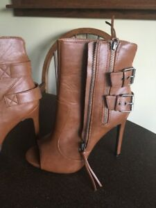 Brown Open Toed Boots - size 7.5 and VS Halter Dress 8-10