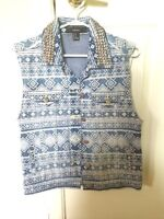 Forever 21 Jean Jacket Aztec with studs