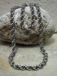 Stainless Steel Double Spiral Weave Necklace & Bracelet Set