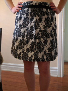 Black and white floral skirt, size 12